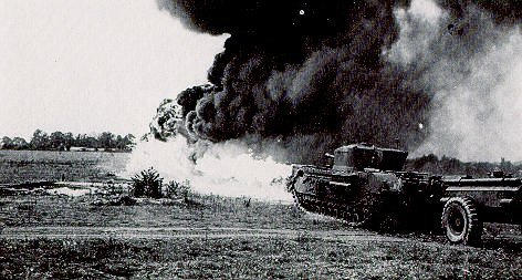 Churchill, equiped with flame thrower